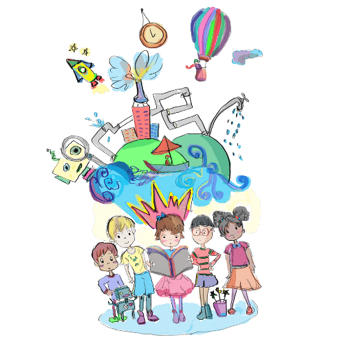 Image of kids and multiple illustrations from Butterfly Books around them.